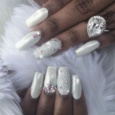 Gorgeous #whitenails with White Chrome & Swarovski CrystalPixie accents! By @nailartbyjudy  Shop for Magic White Chrome powder & Swarovski crystals at DailyCharme.com  #weddingnails #swarovskinails