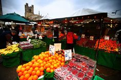 Market stall, Cambridge England. This is where we used to buy our fruit and veg!