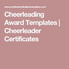 Cheerleading Award Templates | Cheerleader Certificates