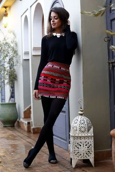 Colorful skirt / pop of color / black / outfit