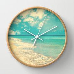 Waves Of The Sea (retro Beach And Blue Sky) Wall Clock