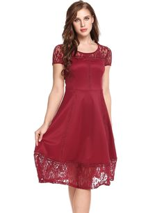 Red Vintage Styles Lace Hollow Out Patchwork Elastic Party Dress