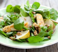 Pear, Walnut & Haloumi Salad - this is one of my favorite salads.if only the Haloumi in the US were as good as it was in NZ. Pear Walnut Salad, Haloumi Salad, Cooking Recipes, Healthy Recipes, Easy Recipes, Seafood Recipes, Mediterranean Recipes, Savoury Dishes, Summer Salads