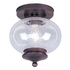Light for top of the stairs | Livex Lighting 9-1/2-in Bronze Ceiling Flush Mount $149