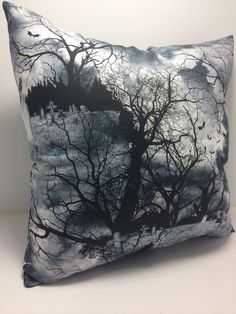 Group One Home®Haunted Graveyard Halloween Gothic Accent Throw Pillow