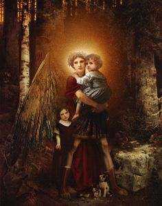 The Guardian Angel--Angel Art and a brief introduction to Angelology; New Pictures of Angels by Howard David Johnson featuring oil paintings, prismacolors and digital media.