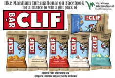 Win a Clif Bar gift pack featuring a variety Clif Bar products! I won a pack of energy bars last contest! The Clif bars come in chocolate !