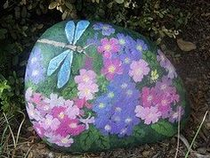dragonfly & flower garden rock