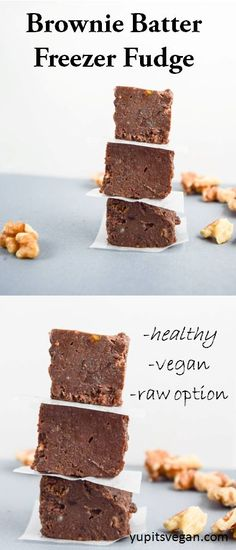 Brownie Batter Freezer Fudge | yupitsvegan.com. Easy vegan and gluten-free chocolate walnut fudge that is reminiscent of brownie batter but made with healthy ingredients.