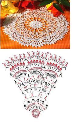 Crochet Doily Diagram, Crochet Mandala Pattern, Crochet Circles, Crochet Doily Patterns, Crochet Chart, Thread Crochet, Filet Crochet, Crochet Stitches, Crochet Table Runner