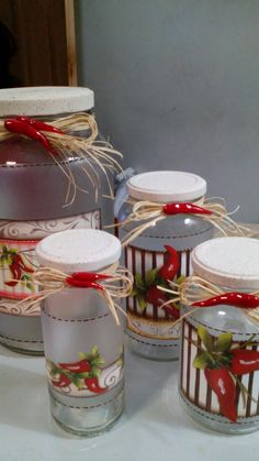 Recycled Crafts, Diy And Crafts, Decoupage Jars, Year Round Wreath, Bottle Painting, Bottles And Jars, Christmas Crafts, Hand Painted, Table Decorations