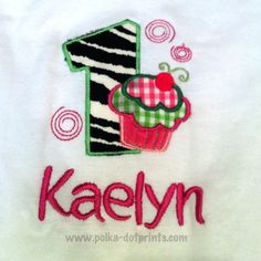 First Birthday onesie with zebra cupcake   Www.polka-dotprints.com