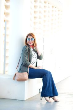 4ce574c585f4 Bell Bottom Blues: Polka Dot Tank Top + The Best Utility Jacket for Spring