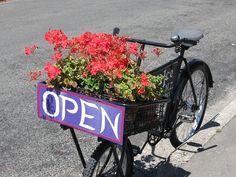 flores, bicicleta, verão