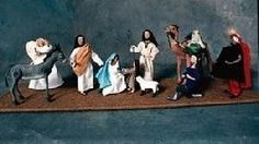 Twelve miniature figures representing the characters of the sriptures' telling of the birth of Jesus Christ. Included are the infant Jesus, Mary, Joseph, the three kings, a shepherd, a little shepherd boy, an Angel, a camel ,a donkey, and a lamb. The cloth figures are 1/12 scale. All are fully posable and playable.