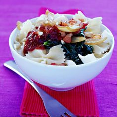 Pasta with Spinach, Feta Cheese & Bacon Recipe