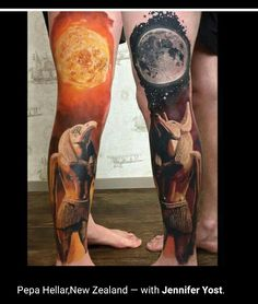 Gods of the sun and moon full color tattoo