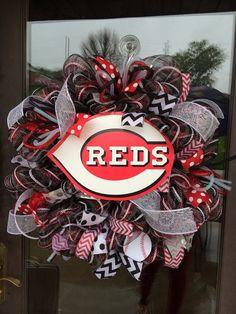 Cincinnati Reds Baseball deco mesh wreath by ShelbyColemanCrafts, $68.00