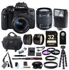 Canon EOS Rebel T6i Digital SLR with EF-S 18-55mm f/3.5-5.6 IS STM Lens + Slave Flash + 58mm Wide Angle and Telephoto Lenses + 32GB Deluxe Accessory Bundle