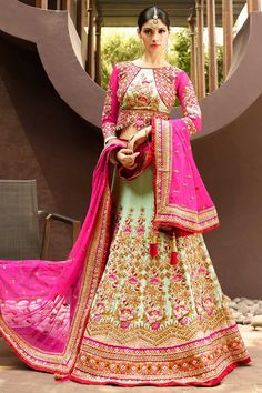 #AndaazFashion presents Pink Art Silk Lehenga Choli and Net Dupatta   http://www.andaazfashion.fr/womens/lehenga-choli/party-wear-lehenga-light-green-art-silk-chaniya-choli-andaaz-fashion-dmv8511.html