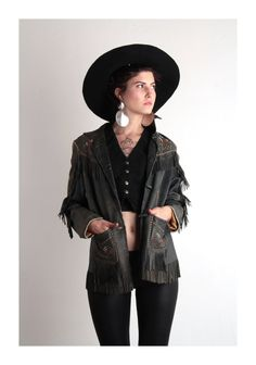 Big hat fringed jacket
