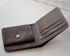 Handmade Wallet Mens Leather Wallet Hand Sewing Bifold wallet