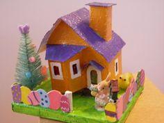 Putz Orange Easter House by WinterVillageCrafts on Etsy, $21.00