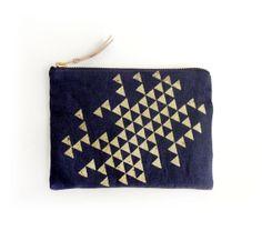 Linen navy blue zipper pouch gold triangles by Indigobirddesign
