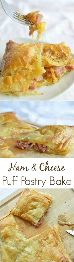 Ham and Cheese Puff Pastry Bake - Great way to use up leftover ham with puff pastry or phyllo dough. Easy dinner or appetizer recipe! #easter wonkywonderful.com