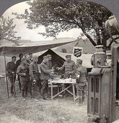 SALVATION ARMY AT FRONT. An American Salvation Army hut at the front on the Rhine frontier during World war I. Stereograph, 1918.