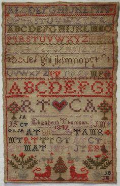 EARLY 19TH CENTURY WOOL WORK ALPHABET SAMPLER BY ELIZABETH THOMSON 1847. ~♥~