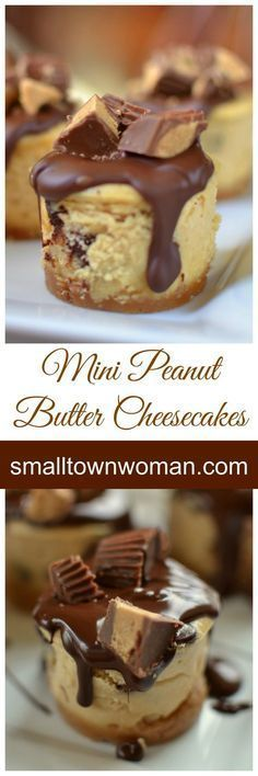 These mini cheesecakes are wonderful in all kinds of ways. First and foremost they are peanut butter and who doesn't love peanut butter? They are topped with a drop of delicious Ghirardelli chocolate and Reese's mini peanut butter cups. Mini Desserts, Desserts Keto, Peanut Butter Desserts, Peanut Butter Cheesecake, Just Desserts, Delicious Desserts, Dessert Recipes, Cheesecake Bites, Health Desserts