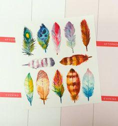 Watercolor Feathers Planner Stickers | Erin Condren | Happy Planner | Filofax | Kikki K | Plum Planner