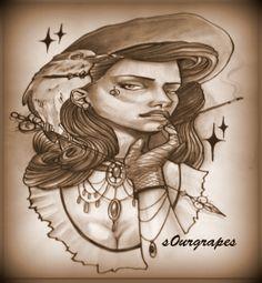 victorian girl tattoo @s0ur Grapes