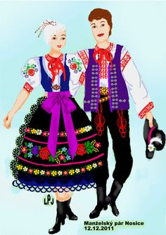 Stylizated costumes from Nosice (part of town Púchov), Považie region, Western Slovakia. Folk Costume, Costumes, Ukrainian Art, Jehovah's Witnesses, Sewing Crafts, Activities For Kids, Harajuku, Culture, Mesto