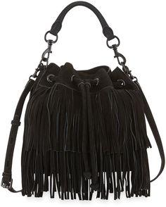 Rebecca Minkoff Fiona Suede Fringe Bucket Bag, Black