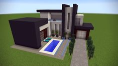 Minecraft, Pixel, Construction, Home Decor, Houses, How To Build House, Large Windows, Modern Mansion, Building