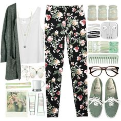 A fashion look from April 2014 featuring white tank, grey cardigan and floral-print pants. Browse and shop related looks.