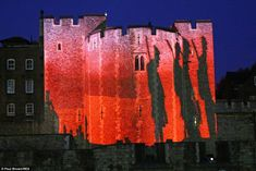 Powerful: The Tower was turned blood red and the shadows of men walking to war were shown ...