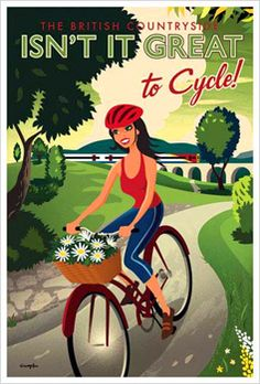 British Countryside CYCLING GIRL Vintage-Style Poster Print - Artist Michael Crampton ~Available at www.sportsposterwarehouse.com