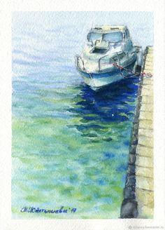 """Купить Акварель """"Кораблик"""" - голубой, море, картина с морем, морской пейзаж, акварельная живопись"""