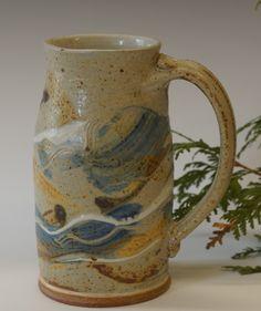 Hand Thrown Stoneware Pottery Stein 'Door County Sunset' Glaze