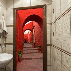 Door in small bathroom