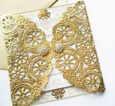 Metallic Gold Laser Cut Gate Fold Wedding Invitations-Square 6x6 Deluxe Doily Invitation- Laser Cut Royal Lace Doily Wedding Invitation
