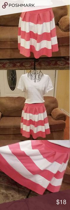 Skirt Cute salmon pink and white stripped skirt. Skirts