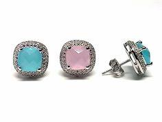 110229920173.  Pendientes de plata de primera ley con piedras naturales de color azul o rosa de cuarzo en presion y con circonitas por alrededor       PRECIO: 41,90€