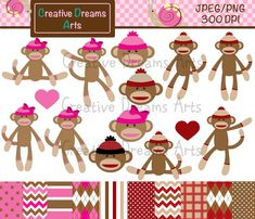 invites and decor Sock Monkey Digital Clip Art Instant by CreativeDreamsArts on Etsy, $5.00