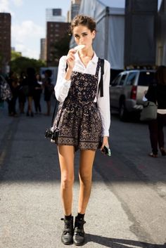 Love this boho-edgy look! Those overalls are gorgeous and look super comfy, and the buckled boots are way cool.