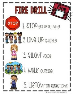 Fire Drill Visual Expectations Poster by Adventures With Ms Chinchilla Kindergarten Anchor Charts, Pre Kindergarten, Kindergarten Activities, Fall Preschool, Preschool Classroom, Classroom Activities, Classroom Rules, Classroom Ideas, Fire Drill