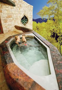 """Stainless Steel Spa with Copper Surround 66"""" x 108"""" x 36"""""""